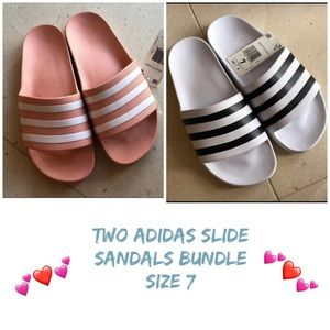 Two size 7 Adidas Slide Sandals bundle